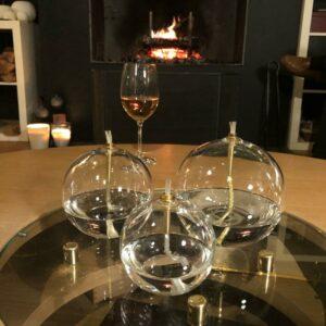 Lampe à huile ronde boule en verre ET LAITON de peridesgn chic et sobre