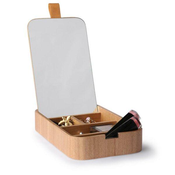 boite a bijoux en bois et couvercle miroir HK Living