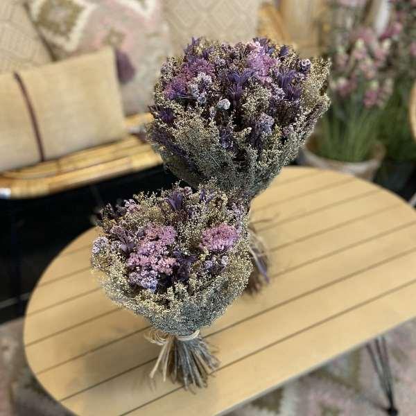 vBOTTES DE FLEURS SECHEES STABILISEES COULEURS bleu et violet