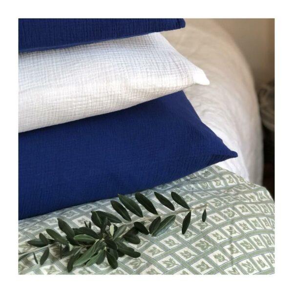 taie d'oreiller gaze de coton blanc 60X60 maisonmajuha