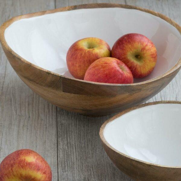 saladier en bois fait main Saladier en manguier et émaille