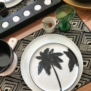 Set de table en coton noir et blanc motif ethnique fait main en Indonésie de Berbère Home