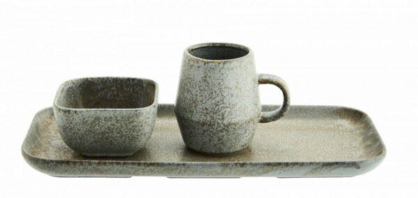 plateau en céramique grès taupe parfait pour son thé ou cafe de chez Madam Stoltz