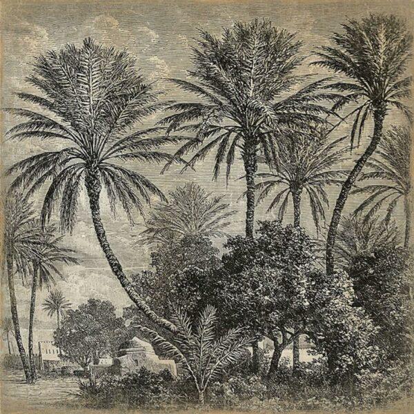 Panneau mural en papier froissé palmier
