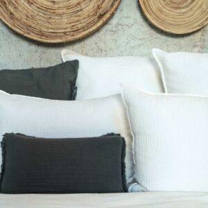 Taie d'oreiller gaze de coton carre ou rectangle blanc made in France
