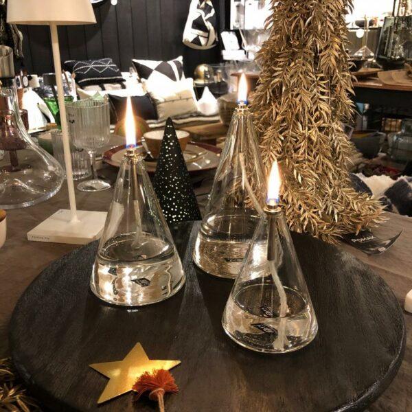 LAMPE A HUILE FORME CONE PYRAMIDE, PETITE MOYENNE ET GRANDE