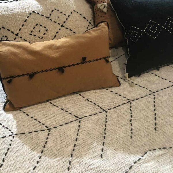 Plaid en coton et lin Berbere Home brodé main écru et noir unique