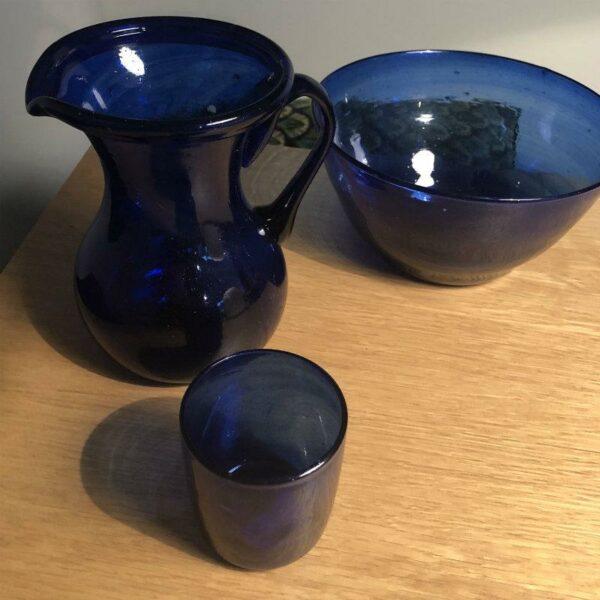 Saladier bleu outremer en verre soufflé egyptien deco boheme chic