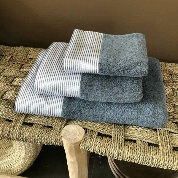 ensemble de draps de bains GRIS en coton égyptien