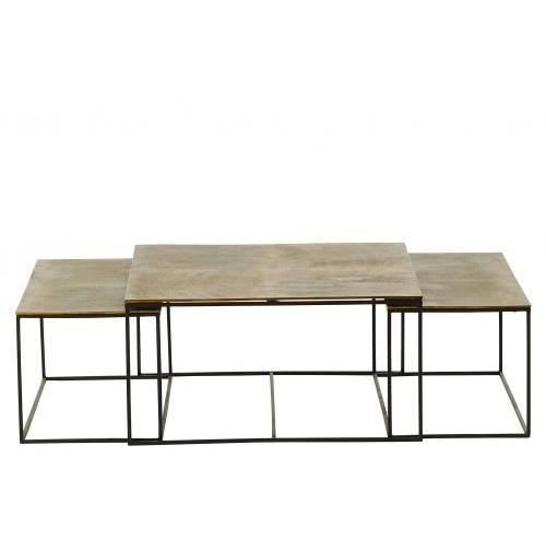 TABLE TRIPTYQUE IBIZA NOIR ET DORE
