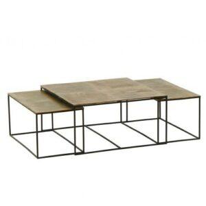 TABLE TRIPTYQUE METAL DORE CARRE ET RACTANGLE DEPLIE