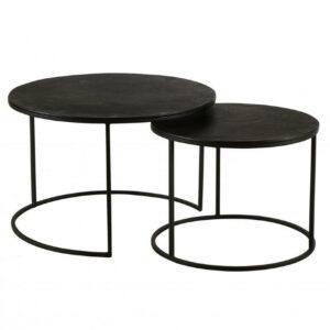 Table gigognes rondes en métal noir simple et tendances