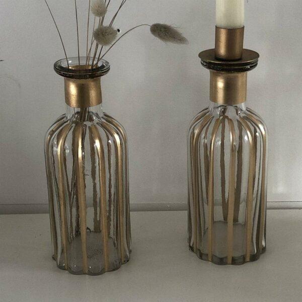 ensemble vase et chandelier pour un même produit en verre et dorures style art déco