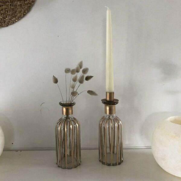 vase soliflore et chandelier en verre avec dorure style art deco