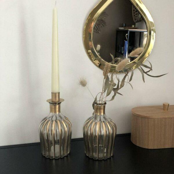 soliflore flacon et porte bougie design unique en verre