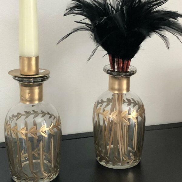 chandelier en verre et soliflore unique chic art déco