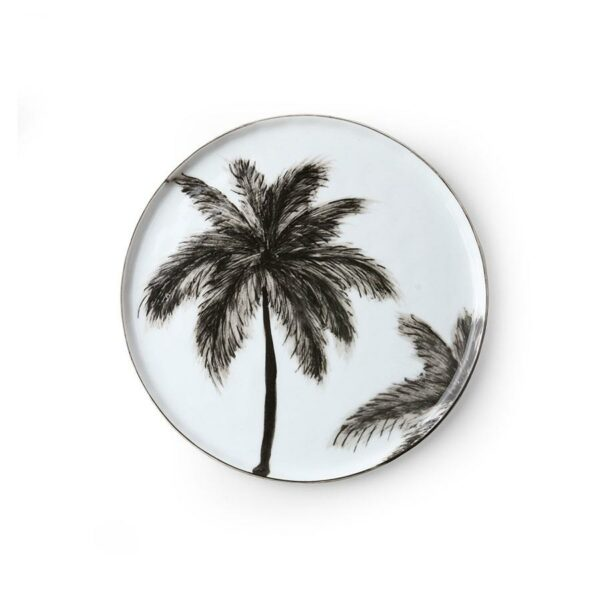 Assiette a dessert porcelaine avec palmiers noirs  HKLIVING