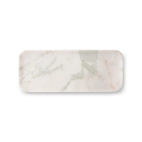 Plateau en marbre blanc et vert. vide poche ou repose cuillère pour la cuisine
