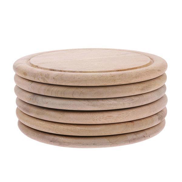 assiettes ou planche a découper rondes en bois hk living