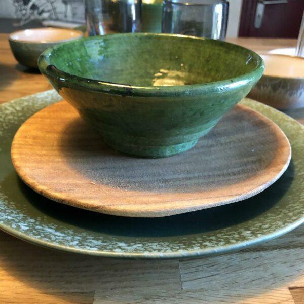 bol en ceramique verte, poterie marocaine de Tamegroute fait main