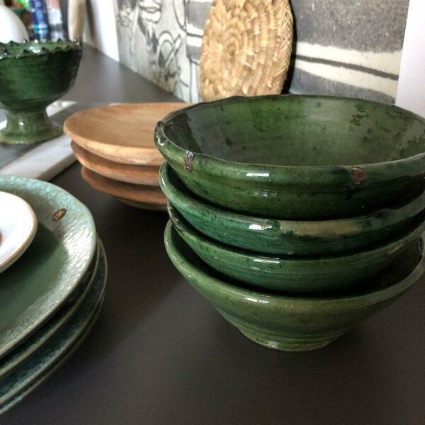 coupelle verte poterie de tamegrout maroc