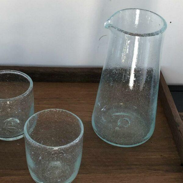 carafe gobelet transparent en verre soufflé Egyptien chic et bohème