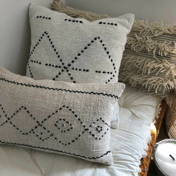 Coussins 60X60 Motifs berbère en coton et lin mélangé, style ethnique boheme chic
