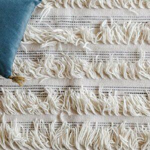 Tapis Fringes en laine et coton
