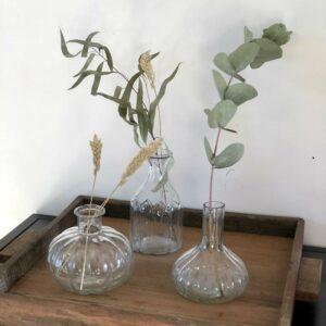 lot de trois vases en verre art déco adorable