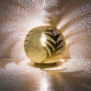 LAMPE BOULE EN CUIVRE DOREE MOTIF FEUILLES  ZENZA