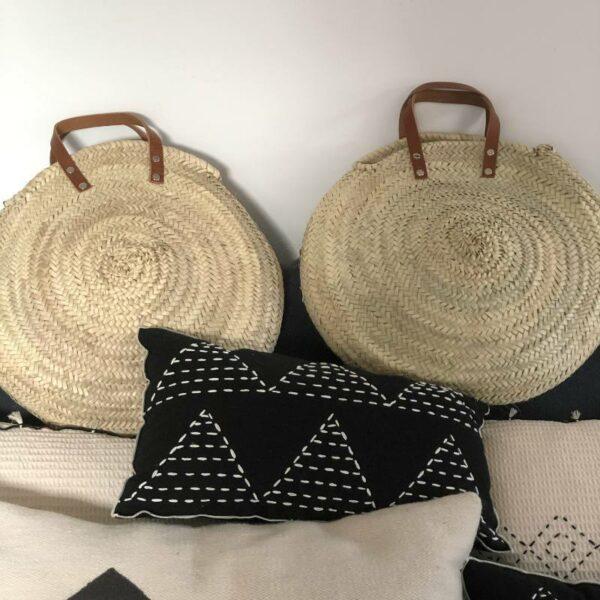 Panier rond en osier anse cuir marocain Choufmoi fait artisanal