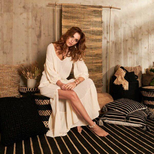 """Robe longue bohème écru de chez """"La Cabane de Stella"""""""