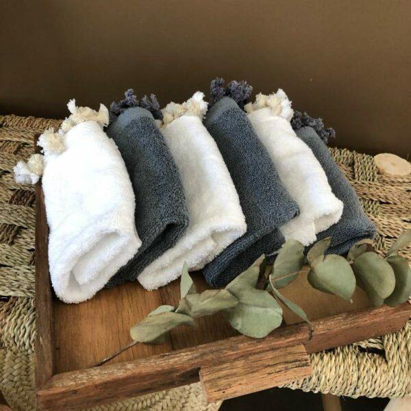 set de deux essuie-mains 100% coton égyptien serviettes d'invités à pompons