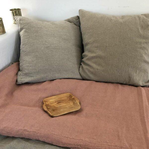 Housse de coussin 60x60 lin naturel doux boheme chic comptoir des teintures