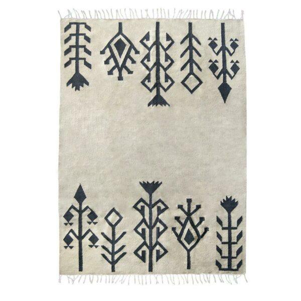 tapis kilim couleur taupe noir à fleur