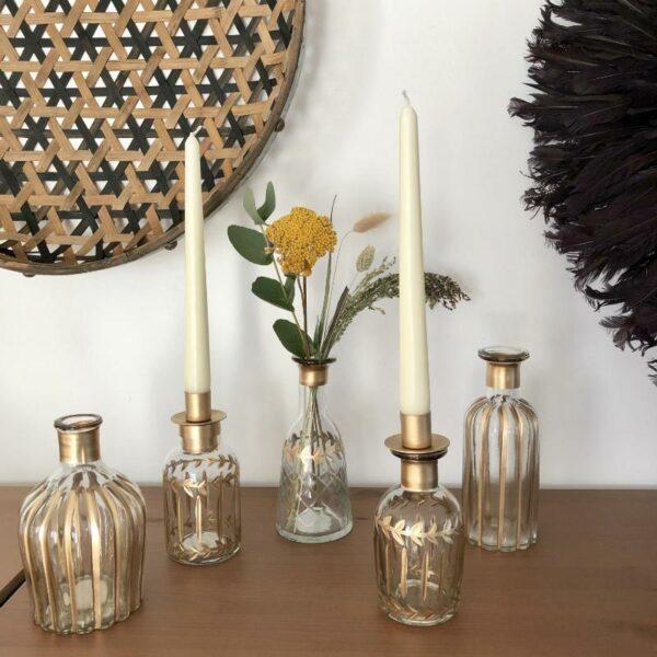 vase flacon et porte bougie fait main au style original