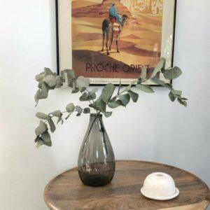 Vase en verre recyclé et soufflé EGYPTIEN couleur gris, tendance ethnique chic  artisanat unique