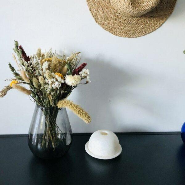 vase oval en verre soufflé recyclé d'Egypte, noir tendance